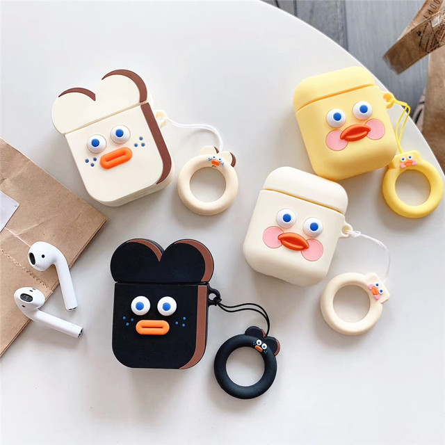 3D Dễ Thương Brunch Anh Trai Xúc Xích Bánh Mì Nướng Vàng DUDU Vịt Airpods Silicone Rung 2 Bluetooth Không Dây Bao