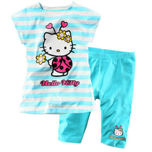 hello kitty In stock! Children autumn girls clothing sets (cartoon short-sleeved sweatershirt + 7 pants) suit grils pants