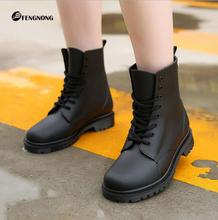 Fashion 2016 Women Rain Boots Rubber Lace Up Women Ankle Boots Waterproof Casual Comfort Ladies Martin Boots Shoes