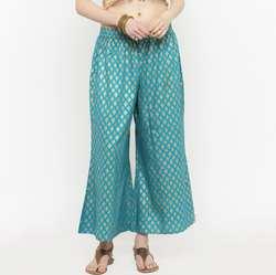 Индийские традиционные женские хлопковые широкие брюки в этническом стиле; сезон весна-лето; синие брюки с принтом