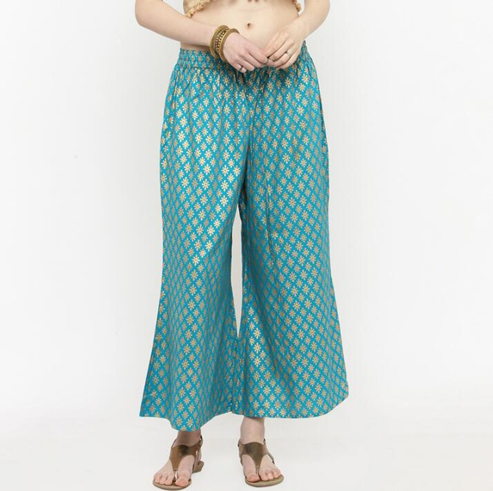 India Traditional Woman  Cotton Broad-legged Trousers Ethnic Style Spring Summer Blue Printing Bottoms Pants For Woman