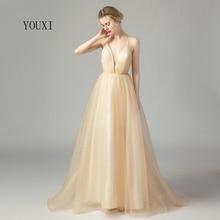 Сексуальное платье с глубоким v-образным вырезом из блестящего тюля цвета шампанского, золотого цвета, длинное платье для выпускного вечера, Новое поступление, официальное вечернее платье, vestidos de gala