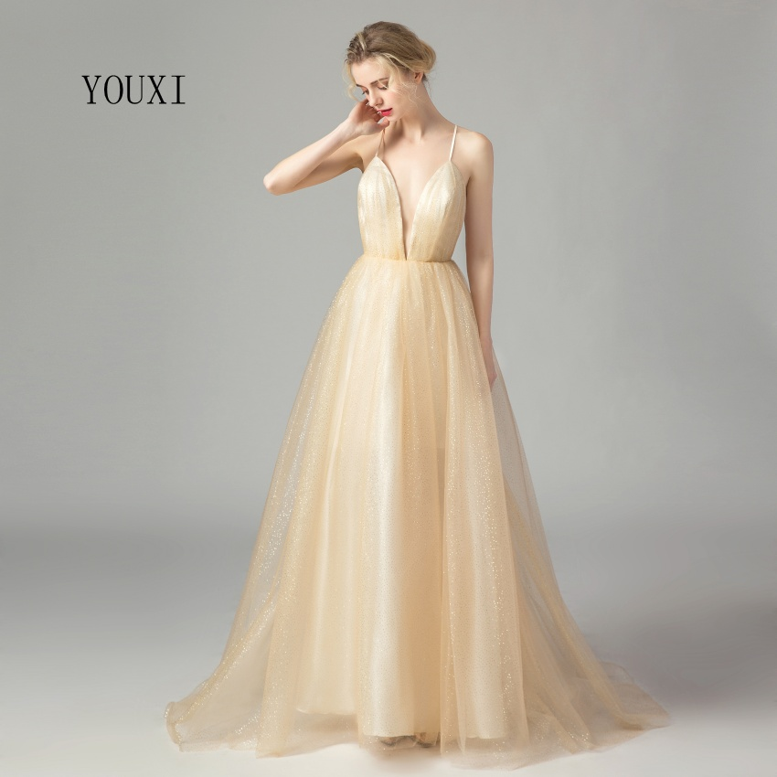 Sexy Deep V-Neck Shiny Tulle Champagne Gold Long   Prom     Dresses   2019 New Arrival Formal Evening Party vestidos de gala