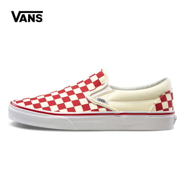 Genuine Red Blue Grid Vans Seakers Men Women Classic Slip-On Low-top  Skateboarding Shoes Canvas Sneakers VN0A38F7P0T P0U e89ca6034