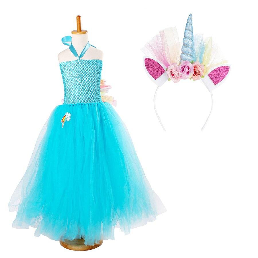 Fluffy Rainbow Dash Girls Tutu Dress with Headband Princess Kids Pony Birthday Party Tutu Dress Girl Halloween Carnival Costume (8)