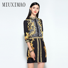 2019 Spring Newest Fashion Europe Style A-Line Turn-Down Collar Wrist Floral Printed Casual Elegant Above Knee Mini Dress Women blue random floral printed a line mini dress