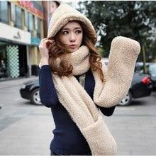 2016 Autumn winter woman hats super warm plush sheep Wool cap with scarf gloves fashion women warm scarf set free shipping