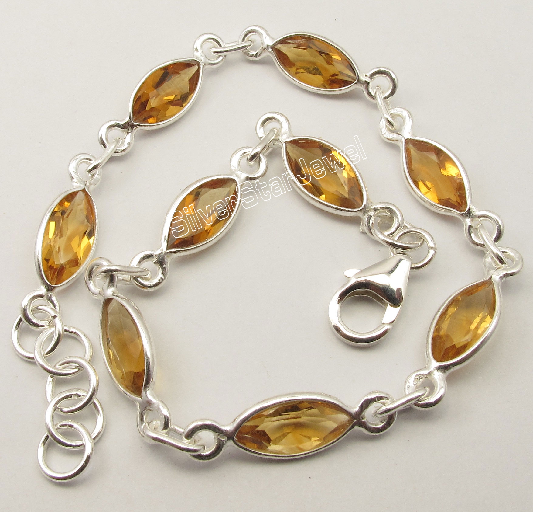 Chanti International Solid Silver YELLOW Citrines 9 Gem LATEST STYLE Bracelet 20.1 CM BIJOUX
