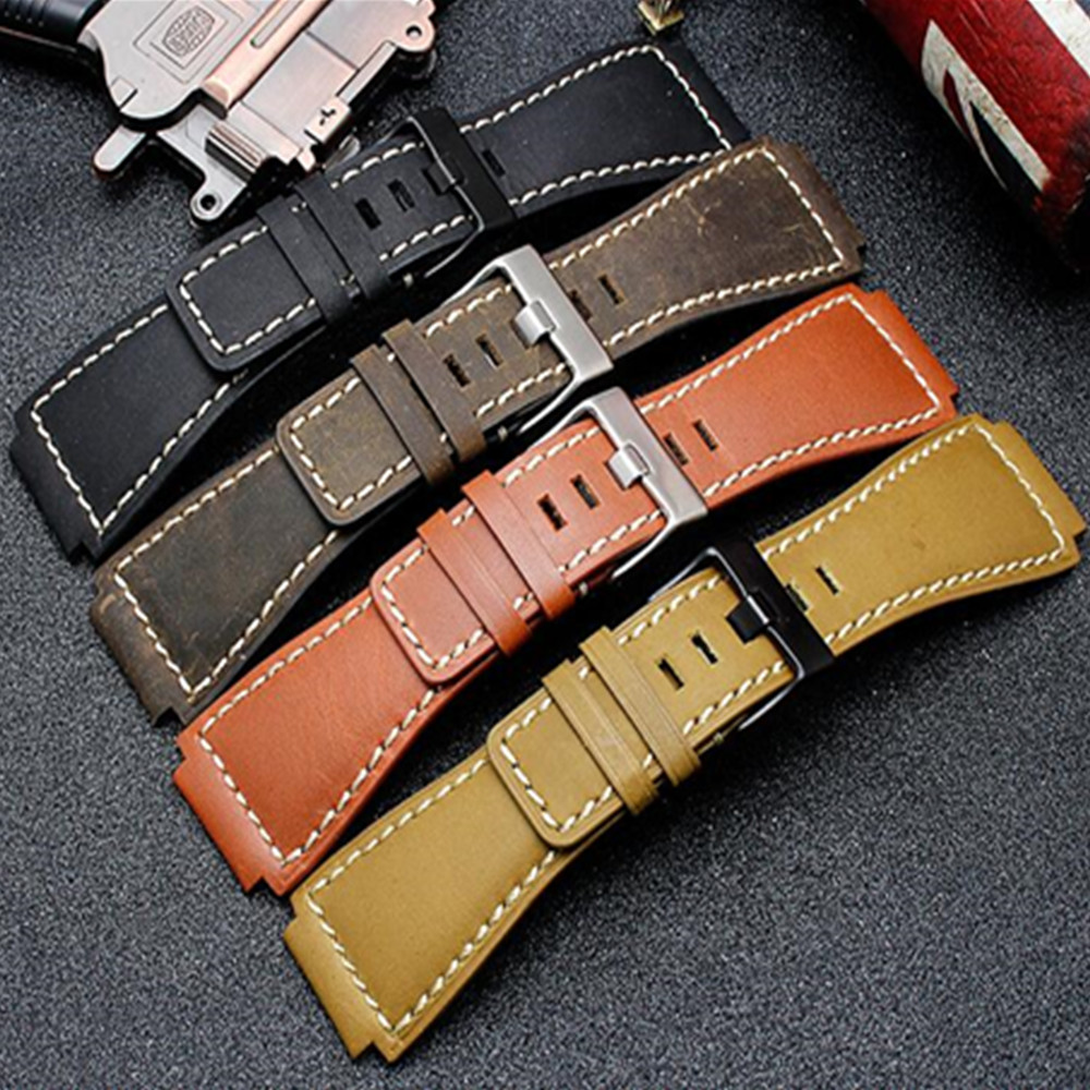 Retro Genuine Leather Watch Band Strap Belt 35 24MM For Bell Ross Watchband Accessories replace For Br01 Br03 in Watchbands from Watches