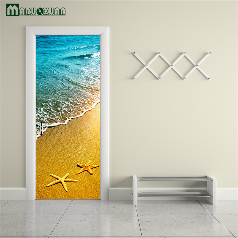 maruoxuan 3d beach haibei scenery door paste home bedroom door rh aliexpress com bedroom door decorations to make with paper Bathroom Door Stickers