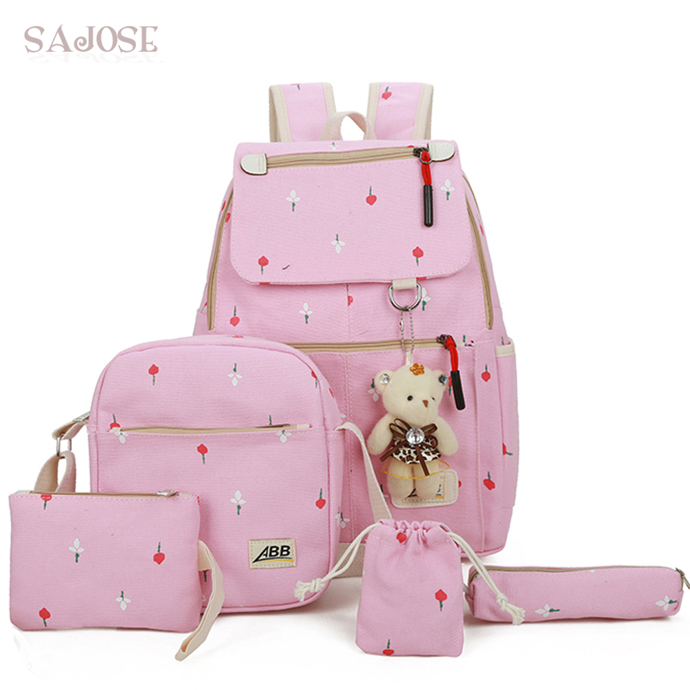 Canvas Backpack Women For Teenagers Girls Preppy Style Composite School Bag Set Printing Bear High Quality Pink 5 Sets SAJOSE winner brand preppy style lace women backpacks school canvas dot printing backpack for teenagers girl laptop bag rucksack