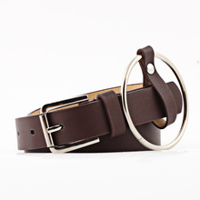 Fashion Punk O-Ring Belt for Women Female Leather Square Metal Pin Buckle Straps Solid 5 Color Belts Fashionable Off White Belt
