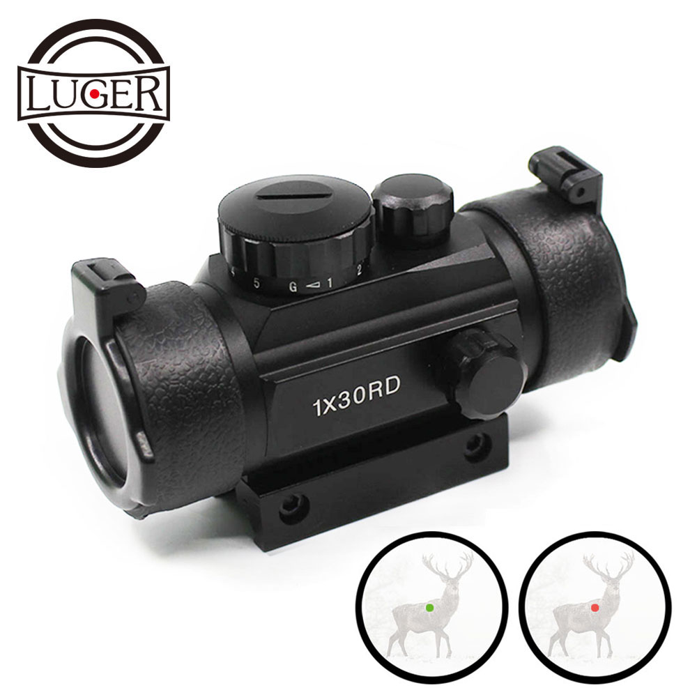 LUGER Tactical 1X30 Red Green Dot Riflescope Holographic Optics Sight Hunting Scope 11mm 20mm Dovetail Rail