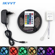IKVVT RGB LED Strip Waterproof SMD5050 2835 Light 12V Led Flexible Diode Tape Ribbon IR Controller Power Supply