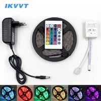 Tira LED RGB IKVVT resistente al agua SMD5050 2835 tira de luz 12V tira de cinta Led Flexible de diodo cinta IR controlador fuente de alimentación 12V
