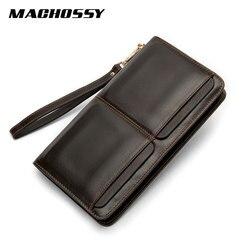 Wysokiej jakości kopertówka męska portfele prawdziwej skóry długie portfele duża pojemność biznes portfel zamki telefon komórkowy torby dla mężczyzn