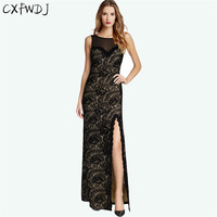 Ladies Sleeveles Evening Lace Dresses Net Yarn O Neck Hollow Out Fit Flare Sexy Floor Length