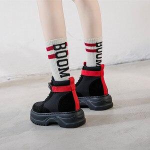 Image 3 - SWYIVY inek süet rahat ayakkabılar kadın yüksek Top kadın ayakkabı 2019 sonbahar hakiki deri bayan ayakkabı platformu kadınlar için Sneakers