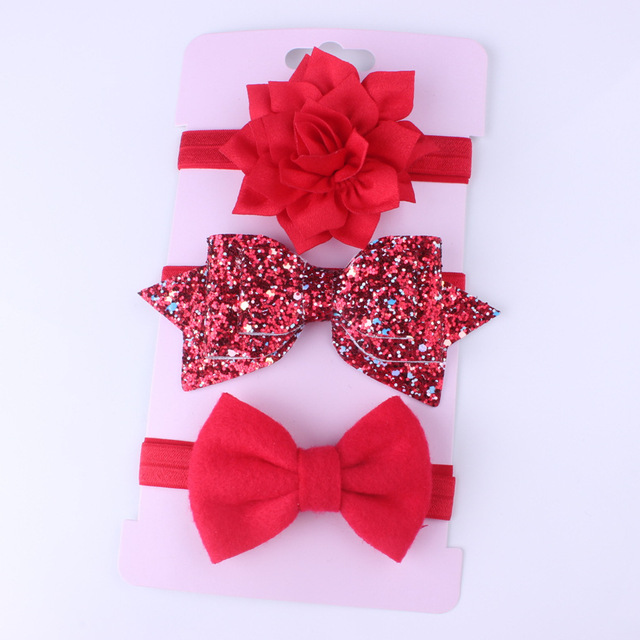 New 3pcs Baby Girls Headband Set Bow Knot Head Bandage Kids Toddlers Headwear Flower Hair Band Infant Clothing Accessories