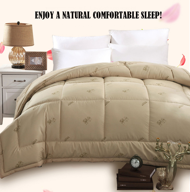 200*230 Camel Hair Winter Comforter Quilted Top Blanket Queen Edredon alicoco hair duvet insert Bedspread dekbedden Quilt futon