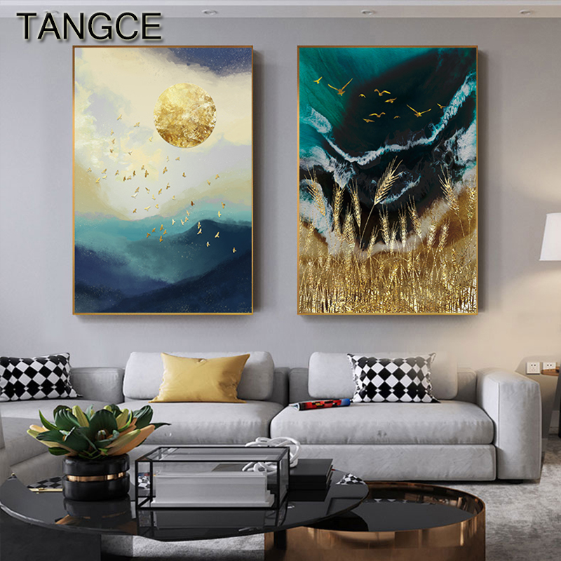 Abstract Gold Field Sun Canvas Painting Golden Foil Poster Print Big Wall Art for Living room Tableaux Cuadros Salon Decoracion