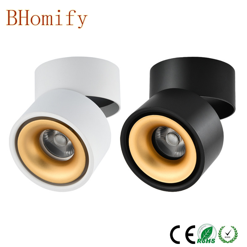 COB LED Ceiling Light 5W 7W 12W AC85-265V Surface Mounted LED Ceiling LamP Spot Light 360 Degree Rotation Cloth Shop Down lights