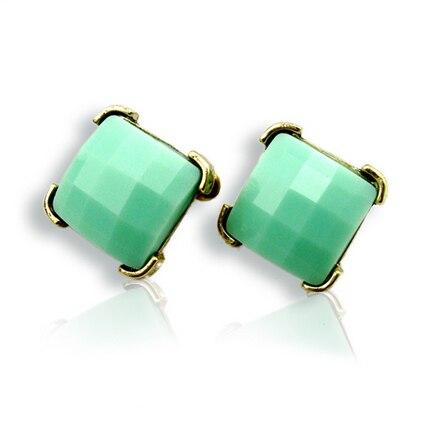 Star Style Brife Vintage European Style Luxury Fashion Square Green Gem Stud Earring E2032