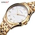 Longbo relógio de quartzo amantes de relógios dos homens das mulheres casal relógios analógicos relógios de pulso de couro moda casual relógios de ouro 1/pcs 80236