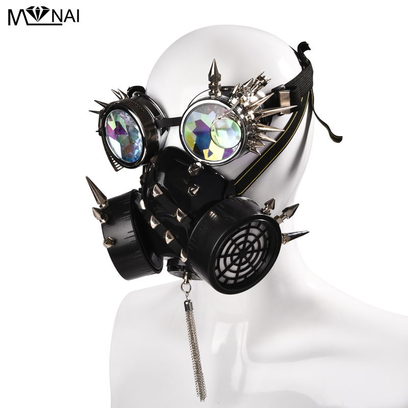 Steampunk Glasses Gas Masks Spikes Goggles Cosplay Props Gothic Men and Women Party Festival Stud Mask Punk Face Masks
