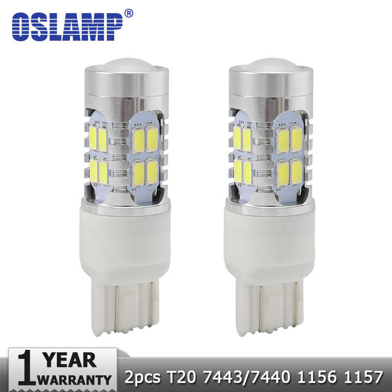 Oslamp T20 7443/7440 1156 1157 Car Led Light Bulbs White Red 12V Clearance Door Break Light Signal Lights Backup Reverse Light