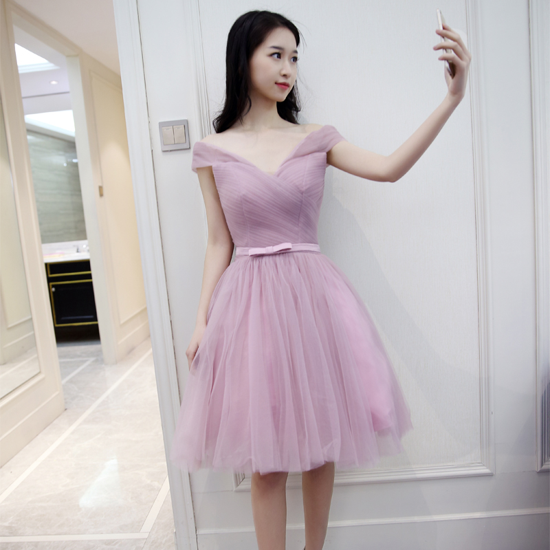 Charming Cap Sleeve Lilac purple Short Bridesmaid Dresses Simple Backless Lace Up Tulle Prom dress Party Gowns