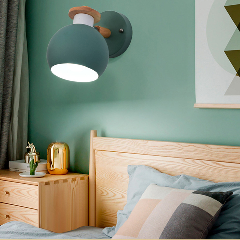 Modern Macaroon Wooden Wall Lamp Indoor Bedside Funky ...