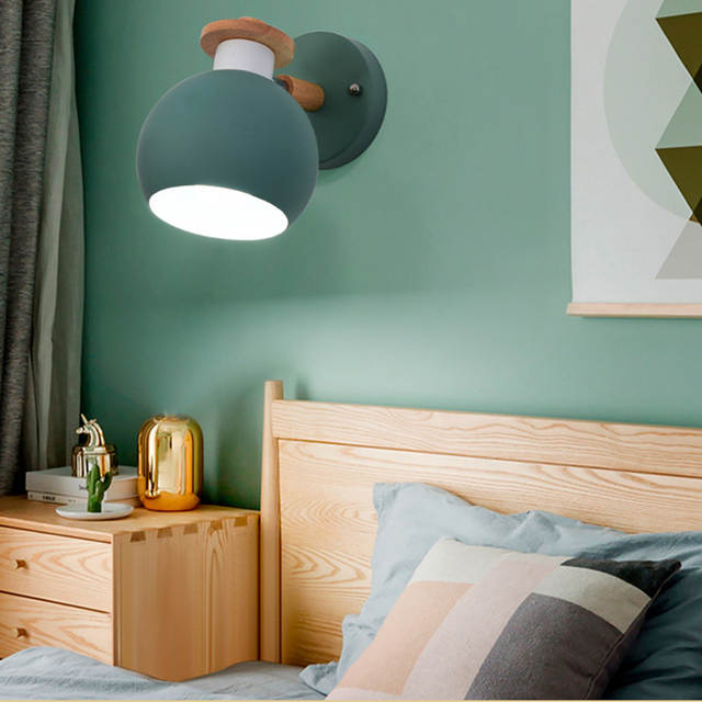 Funky Wall Lights >> Modern Macaroon Wooden Wall Lamp Indoor Bedside Funky Swing Europe Wall Light Lounge Reading Metal Decorative Wall Sconces