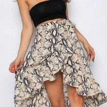8861bd5bc1 (Ship from US) Fashion Women's Skirt Sexy Elegant Casual Daily Ladies High  Fashion Tie Bow Snake Print Ruffle Hem Frill Wrap Midi Skirts BB4