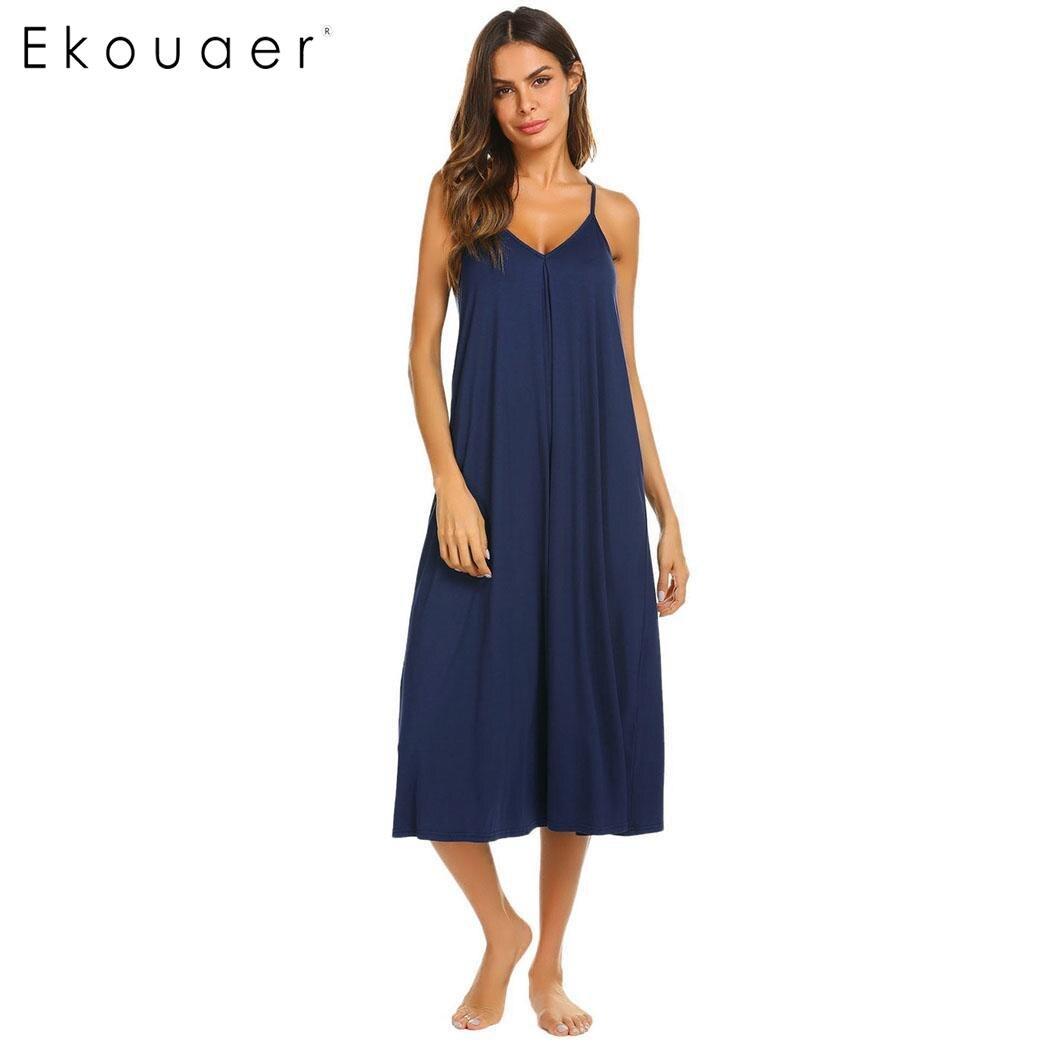 Ekouaer Women Loose Long   Nightgown   Sleep Lounge Dress Sleepwear Sphagetti Strap V-Neck Solid Homewear Night Dress   Sleepshirts