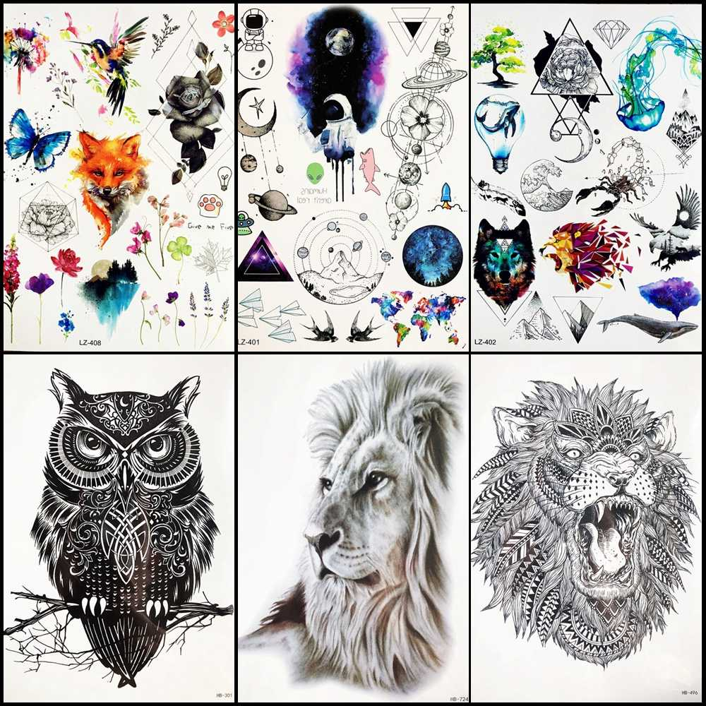 74a32fcf079fd Galaxy Stars Men Chest Lion Tattoo Stickers Women Arm Planet Temporary  Tattoo Black Lion Water Transfer