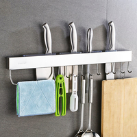 Stainless Steel Kitchen Tools Utensil Holder Hanging Rack Organize Pots Pans Kitchen Knife Gadgets Wall Mounted Cabinet Shelf
