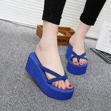 2017 Summer Sandals Wedges Women Slip Flip Flops Beach Sandals Shoes Fashionable Casual Sandals Female Ladies Shoes
