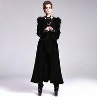 Devil Fashion Gothic Autumn Winter Flocking Women Wool Jacket Coats Steampunk Black Red Hooded Fur Long Coats Flare Cuff