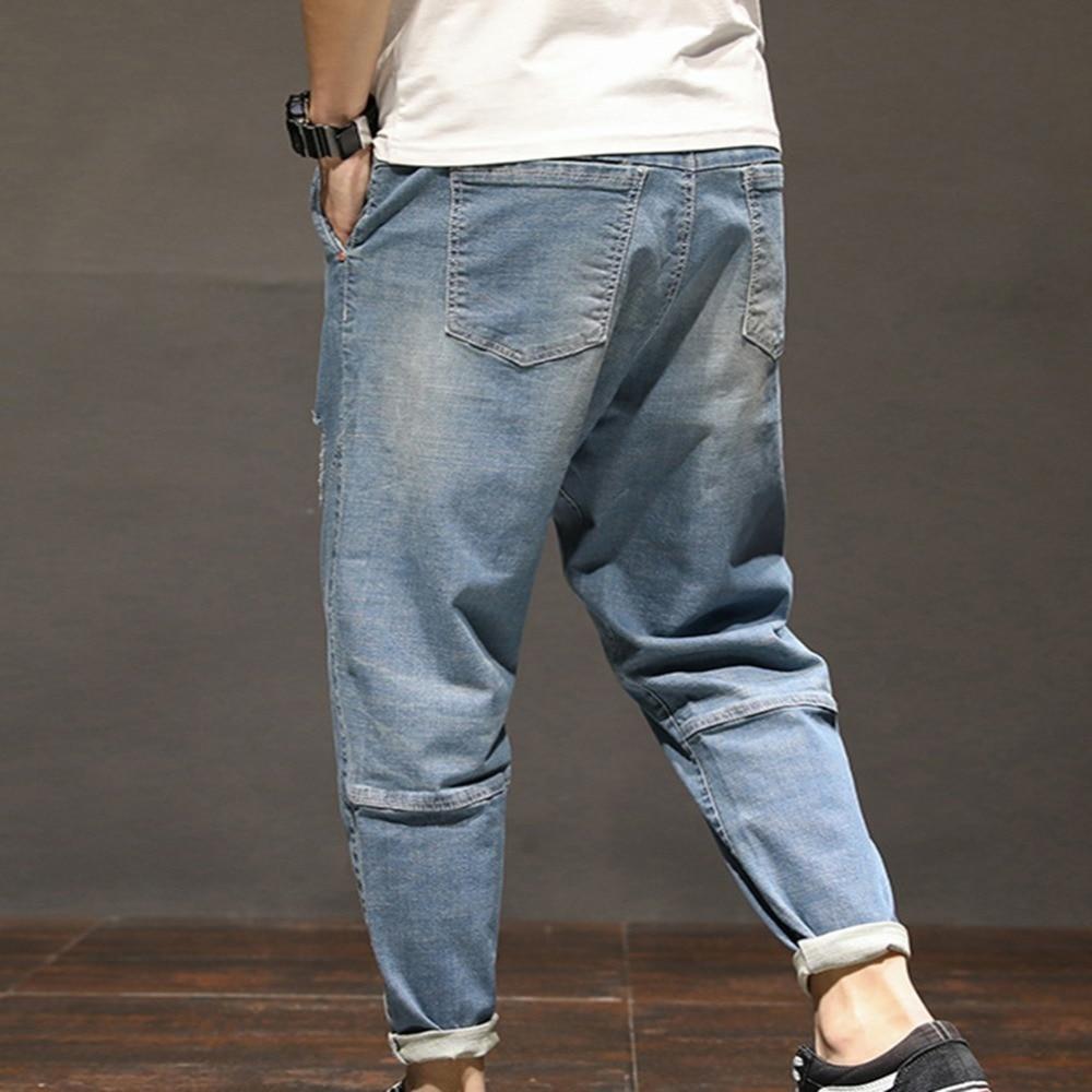 JEELINBORE 2018 New Summer Fashion Hole Skinny Jeans men Long Denim Loose Pants Causal trousers