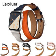 Strap For Apple Watch Band 44mm 42mm 40mm 38mm Iwatch band 6 5 4 3 SE Genuine Leather Double Tour Bracelet iwatch Accessories