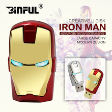 Cartoon metal Avengers Iron man led USB key u disk 4GB 8GB 16GB Pendrive Big Eyes 32GB USB Flash Drive 64GB Pen Drive 128GB