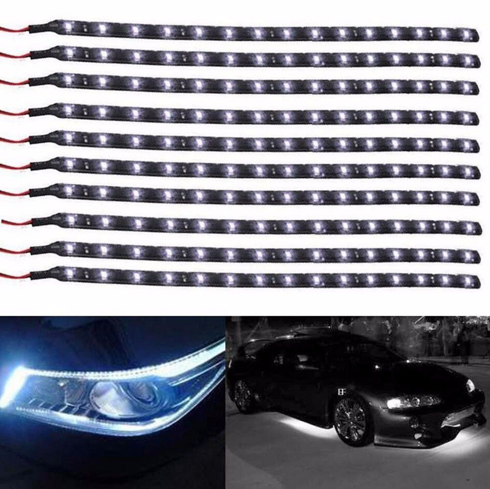 1x 30cm 15-LED Car Trucks Motor Grill Flexible Waterproof Light Strips HI
