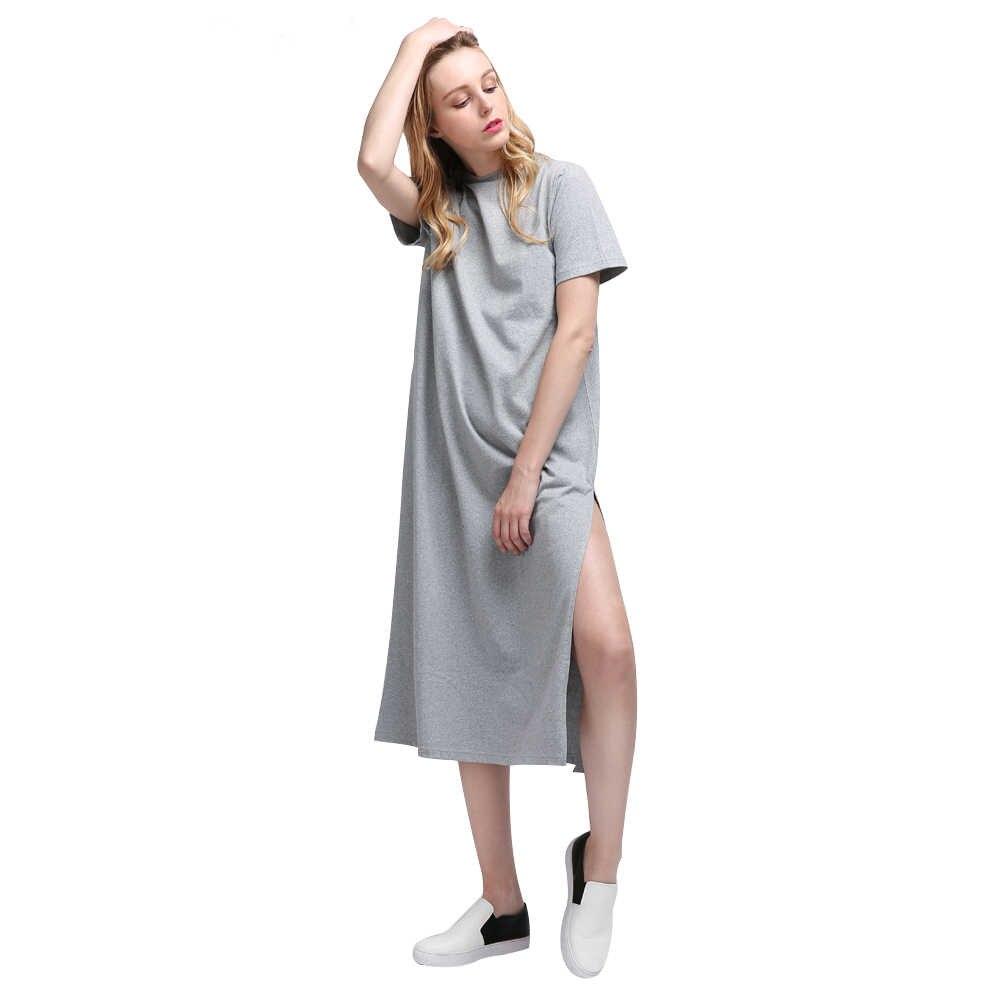 Summer Long T shirt for Women Black T-shirt Sexy Side Slit Short Sleeve Big Size Thin Long Women Tops Tees Female t-shirt