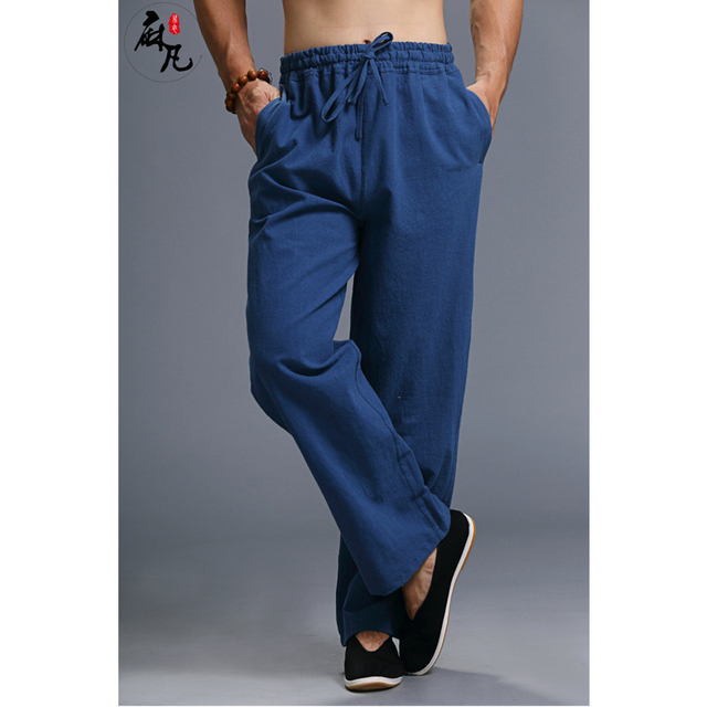Chinese Kung Fu Pantalones de Lino de Algodón de Los Hombres Pantalones Casuales Pantalones de Cintura Elástica Pantalones Rectos de La Pierna Pantalon Corredores Hombres