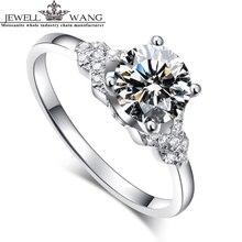 JEWELLWANG 18K Real White Gold Ring Moissanites Engagement Rings For Women Brand 1.0ct Certified Original Goddess Carat Flower