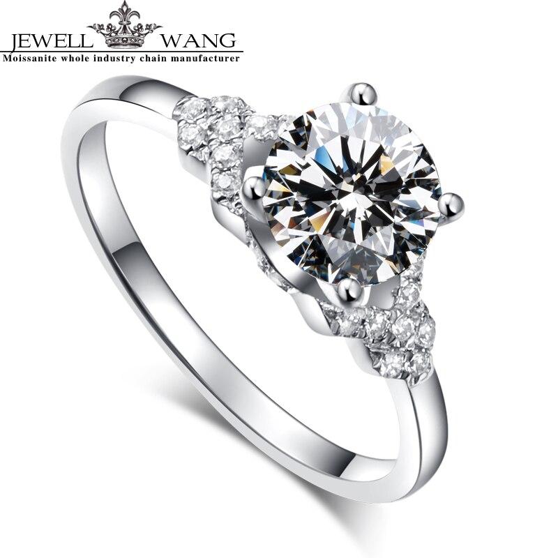 JEWELLWANG 18K Real White Gold Ring Moissanites Engagement Rings For Women  Brand 1.0ct Certified Original