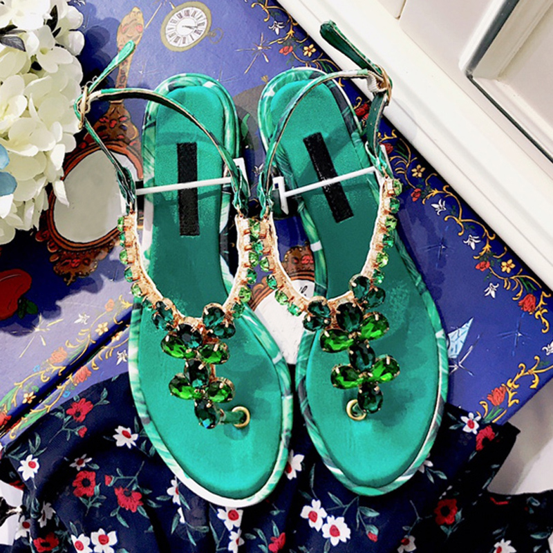 Luxury Colorful Crystal Women Summer Sandals Sexy Printed Flower Peep Toe Buckle Strap Flats Shoes Runway Gladiator Shoes WomanLuxury Colorful Crystal Women Summer Sandals Sexy Printed Flower Peep Toe Buckle Strap Flats Shoes Runway Gladiator Shoes Woman