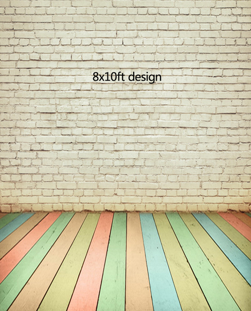 8x10ft Multi Colored Wood Floor And White Bricks Photography Backdrops Background Photo Studio Wallpaper Decoration