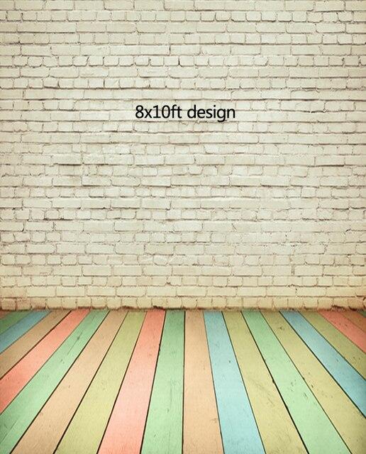 8X10Ft Multicolore Plancher De Bois Et Blanc Briques Photographie